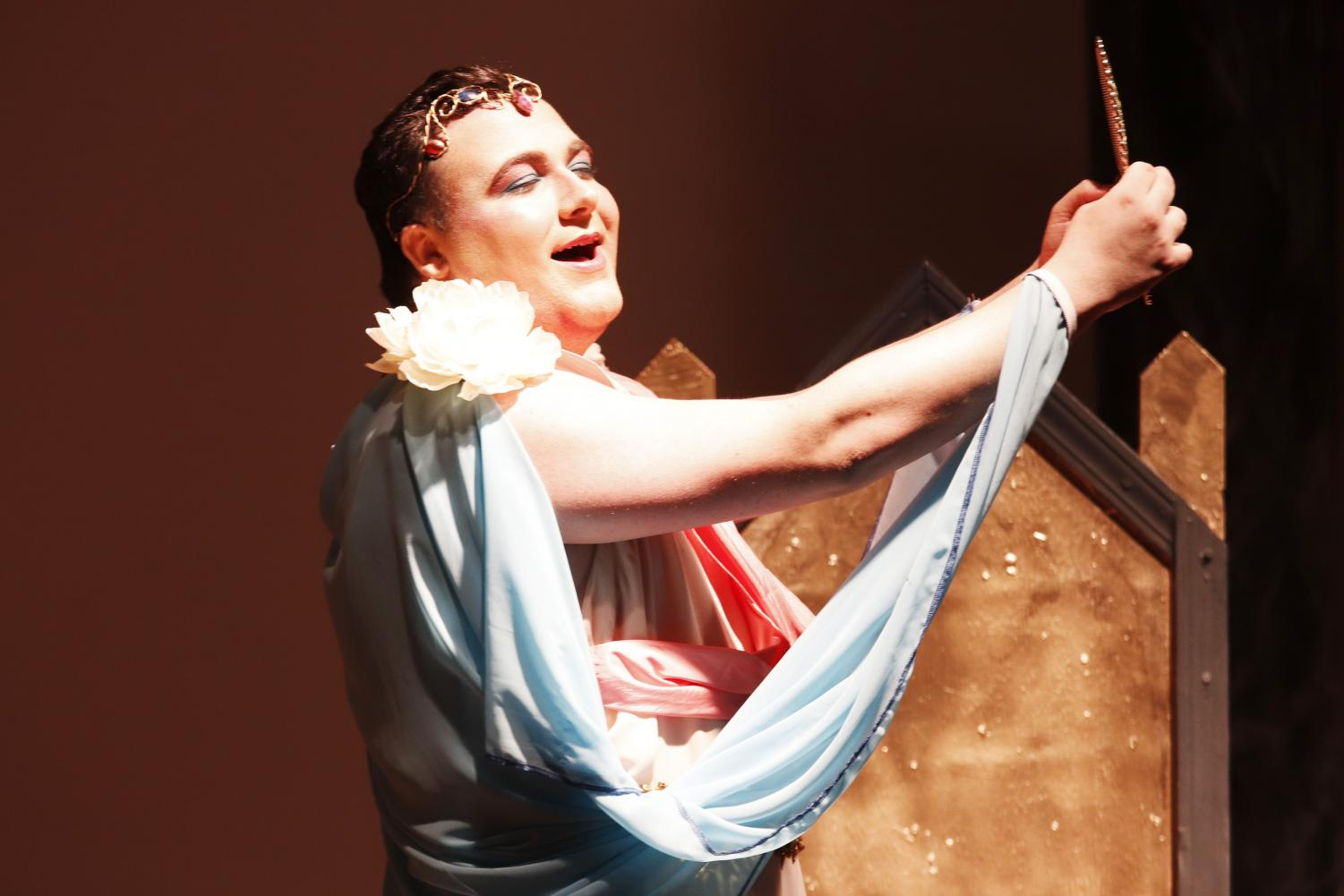 """Jeremy Guillot, a junior music major, performs as Narcissus in Alpha Psi Omega's play """"You Go, Goddess!"""" Both organizations allow students to work on their craft."""
