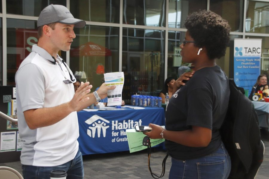 Students interacted with employers at the Part-Time Job Fair in the Student Union Breezeway in a search for work near campus.