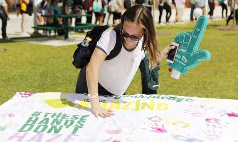 "At last year's ""Gumbo Ya Ya,"" students participated in painting a ""These Hands Don't Haze"" sheet sign."