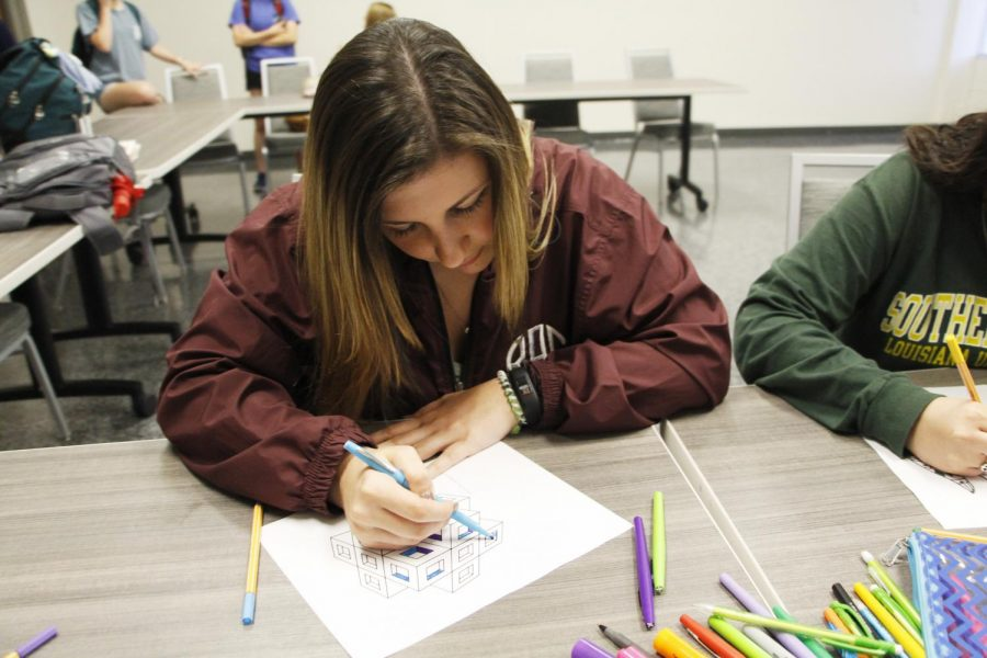 Students can relax during the week by creating art.