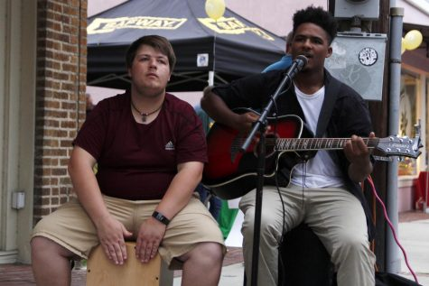 "Seth Guerra and Nathaniel Bauerle perform during ""Hot August Night."" Guerra and Bauerle belong to the band Kevin."