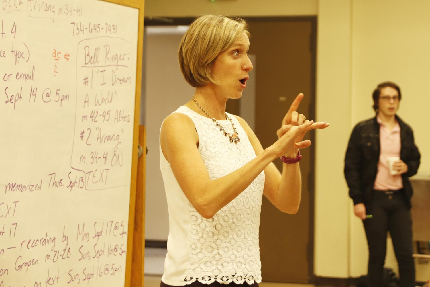 Dr. Alissa Rowe, associate professor of voice, teaches choir to students. The Department of Music and Performing Arts offers opportunities for both music and non-music majors to perform.