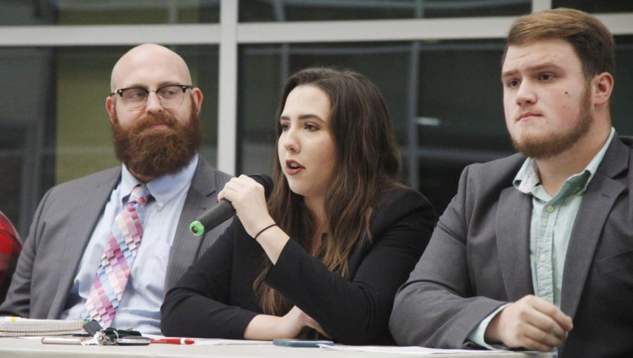 """Left to right, College Republican panelists Caleb Kerstens, Mollie Millet and Hayden Porter participate in political discussions held at """"Blue Meets Red."""""""
