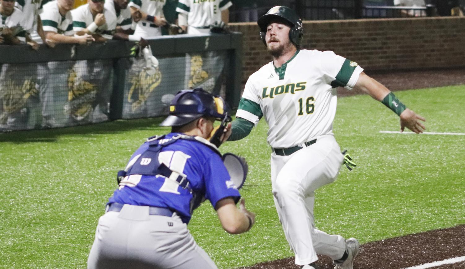 Kyle Schimpf, a senior infielder, runs to home plate to score against the University of New Orleans. Athletes may find inspirations from a number of sources including professional athletes.