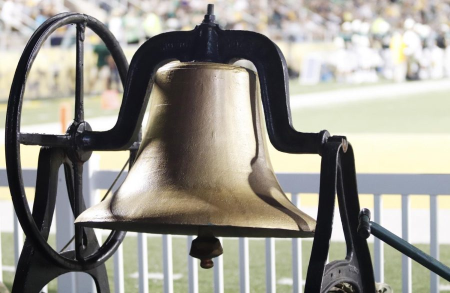 The Victory Bell is rung at home football games when the Lions make a touchdown.