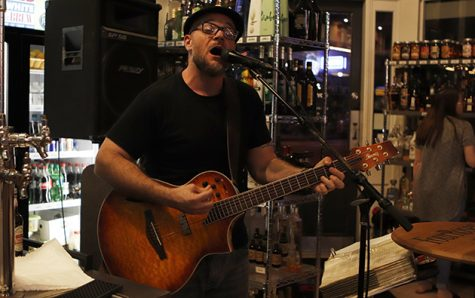Casey Saba, a 2006 alumnus, performs at Red, White & Brew. He performs both covers and original music. Beyond live music, Saba is also a comedian and teacher. Saba has seen the live music business grow from face-to-face booking to email and Facebook.