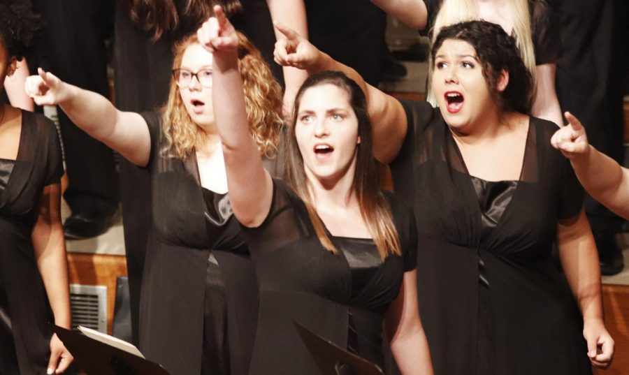The university Chorus, Bella Voce and the Concert Choir joined the Northshore Choral Society in performing the concert I Dream A World featuring music that originated from languages around the world.