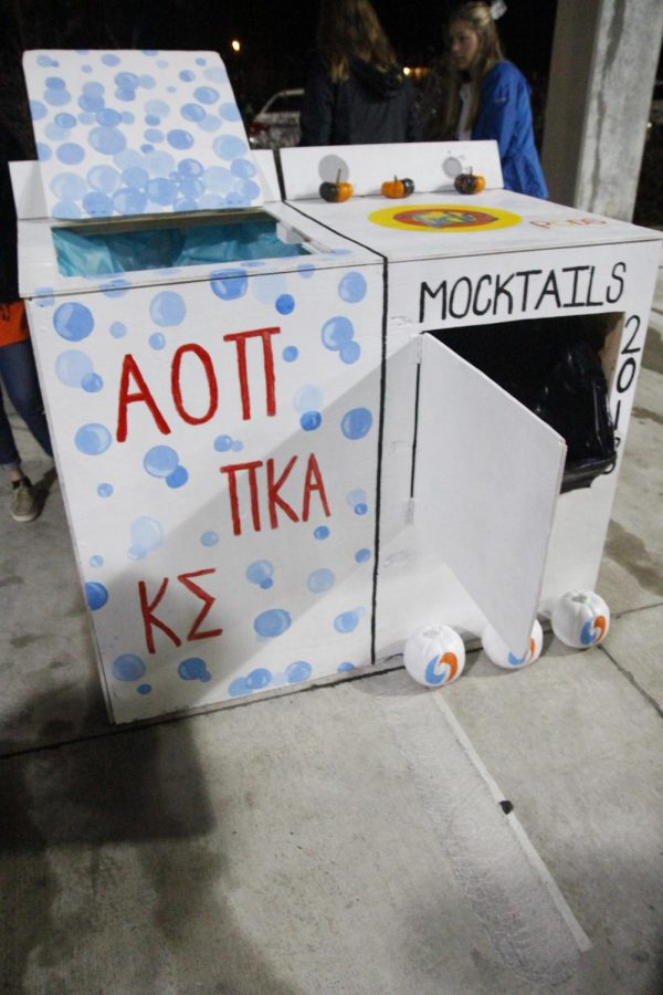 Alpha+Omega+Pi%2C+Pi+Kappa+Alpha+and+Kappa+Sigma+partnered+up+to+create+the+first-place+booth+and+overall+display.
