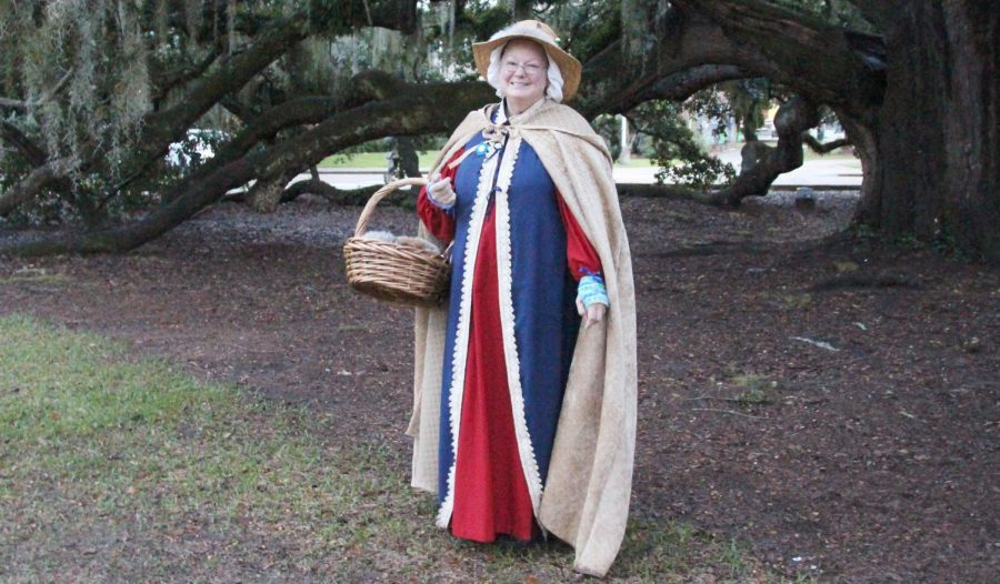 "Maia Close, a senior history major, dresses as the fictional character Katherine Furrier for the ""Louisiana Renaissance Festival."""