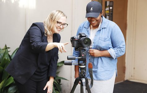 Instructor of  Photography Lily Brooks teaches photography to Tiranee Moody, a junior art major. Brooks started teaching at the university in 2015.