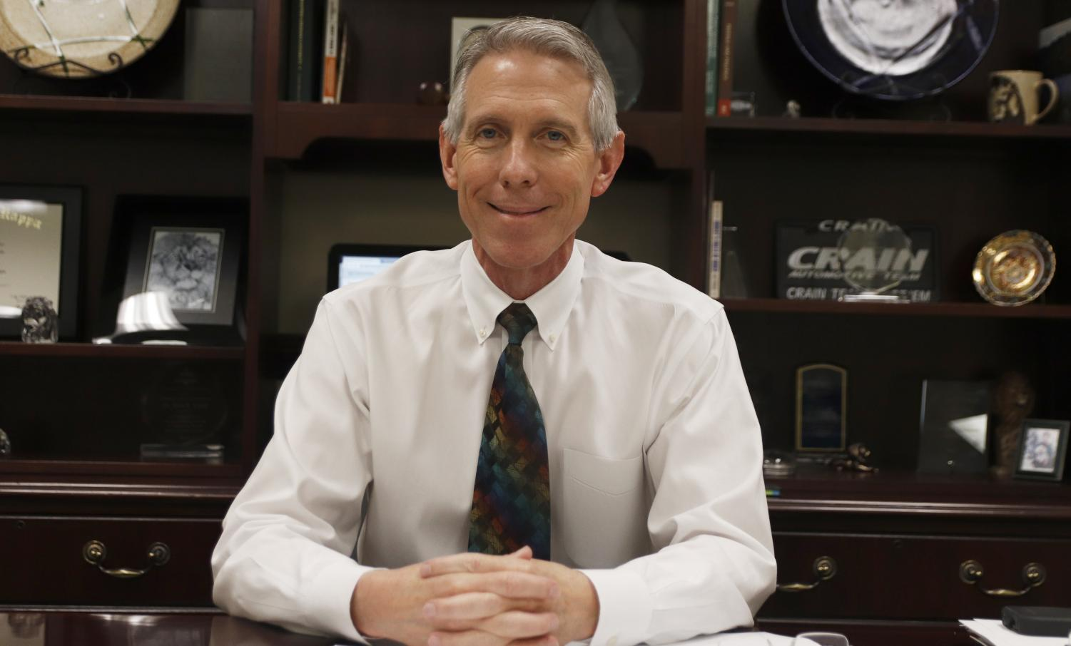 A typical day for President of the university Dr. John L. Crain involves supervising various campus activities. He also represents the university and makes appearances at events like
