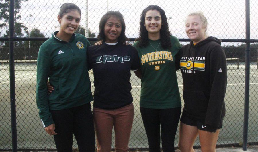 Katya Cornejo, Putri Insani, Ximena Yanez and Bernadette Dornieden are international student-athletes on the tennis team. They enjoy the motivation they receive from their head coach.