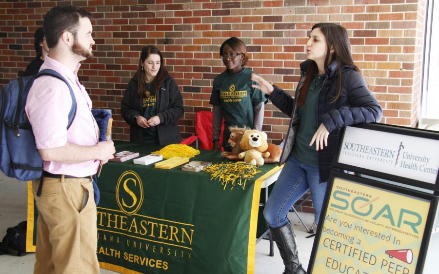 The University Health Center set up a table in the Student Union Breezeway to promote their fitness programs SOAR and Lighten Up Lions. SOAR is a peer-to-peer educational program, and Lighten Up Lions is a free fitness program offered by Recreational Sports and Wellness.