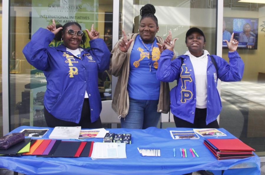 Nahilia Colbert, a junior kinesiology major, Gracishone Floyd, a senior psychology major, and Tyrean Celestine, a sophomore family and consumer sciences major worked at the table set up by Sigma Gamma Rho Sorority, Inc. to give out free supplies such as highlighters, pens, folders and notebooks to students. The sorority set up a table on Tuesday, Jan. 29 from 10:00 a.m. to 2:00 p.m. in the Student Union Breezeway.