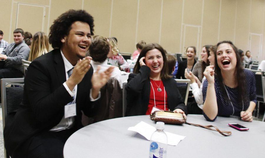 Students at the Future Business Leaders of America cheer as their schools win in academic competitions. Through these competitions, schools qualified for the state conference in Lafayette.