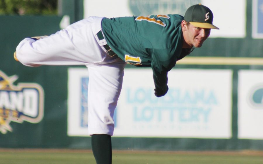 Kyle Keller, a 2015 alumnus, winds up for a pitch at Pat Kenelly Diamond at Alumni Field. After his time at the university, Keller played in minor league baseball and recently joined the major leagues as a relief pitcher for the Miami Marlins.