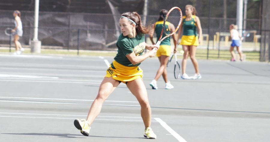 Ceci Mercier, a senior on the tennis team, takes two singles wins at the George E. Fourmaux Cup Invitational that closed the team's fall season. With five years on the team, Mercier entered a leadership position as the team captain. She began practicing the sport full time at 12 years old and later moved from Uruguay to continue competing at the university.