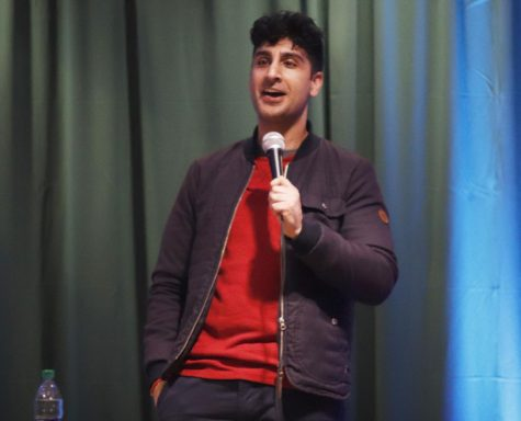 Gibran Saleem, a comedian, performs at