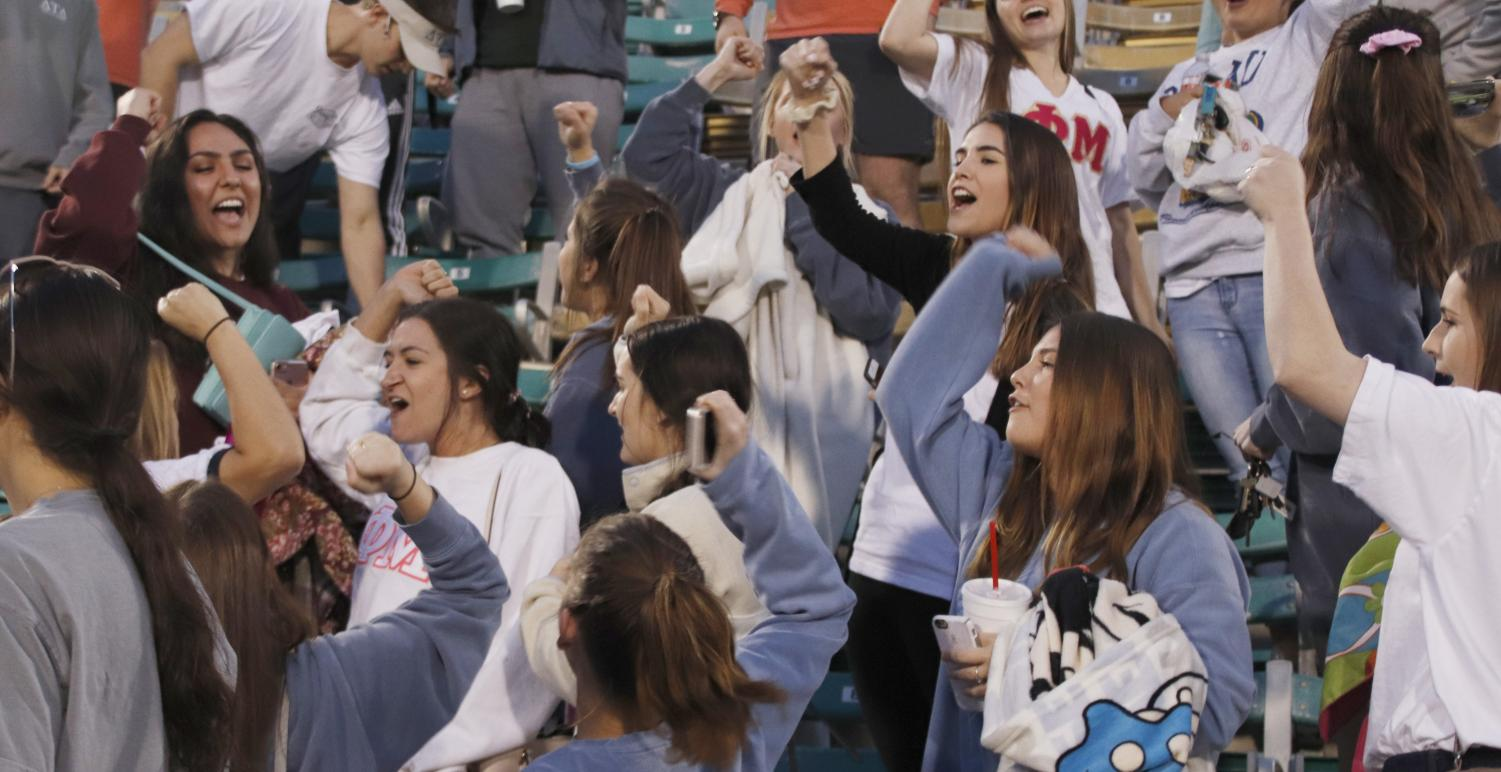 During the spring semester, Greek organizations participate in their own leaugue for intramurals. These competitions go towards the Greek Cup awarded during Greek Week to the organization with the most points in sportsmanship and participation.