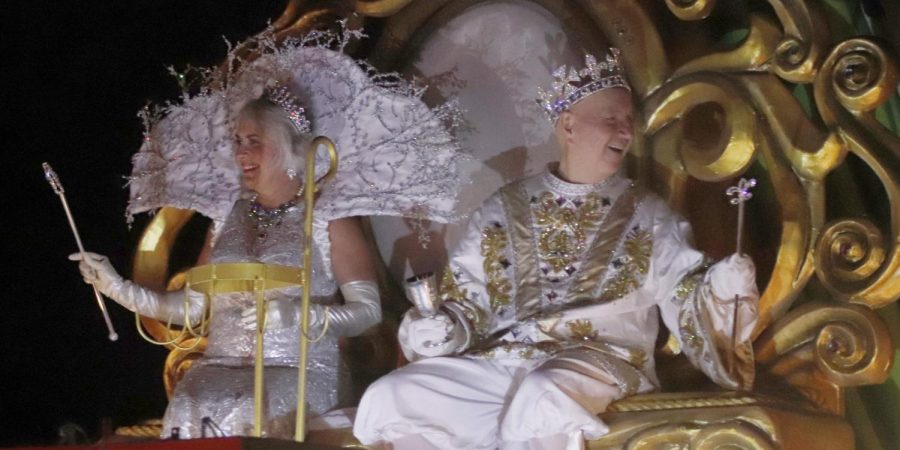 The Krewe of Omega hosts events like the annual Mardi Gras parade. This year's parade included over 22 floats and local singer Christian Serpas.