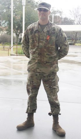 Cadet Christian Mozingo, a senior criminal justice major, stands in his uniform outside the  Student Union Annex. Encouraged to join in high school, Mozingo is thankful for the opportunity to serve his country.