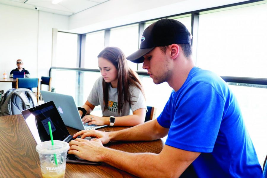 Kamryn Chambers, a freshman communication sciences and disorders major, left, and Anthony Freeman, a senior business management major, right, study in the Sims Memorial Library. Depending on the class and grading structure, students may find themselves adapting their study habits to succeed.