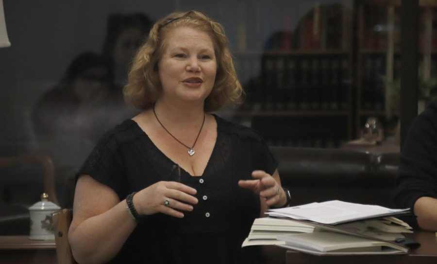 Dr. Sarah Schillage-Truxillo, instructor of English, focused on literature by women in antiquity for her part on the panel in the Sims Memorial Library. The panel included faculty from the Department of English to discuss topics related to Womens History Month.