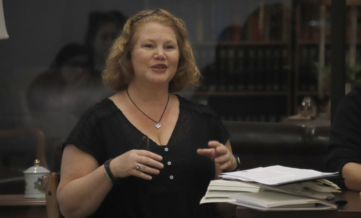 Dr. Sarah Schillage-Truxillo, instructor of English, focused on literature by women in antiquity for her part on the panel in the Sims Memorial Library. The panel included faculty from the Department of English to discuss topics related to Women's History Month.
