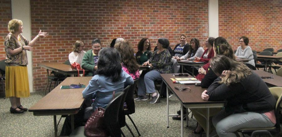 Administrative assistants gathered in the University Center for