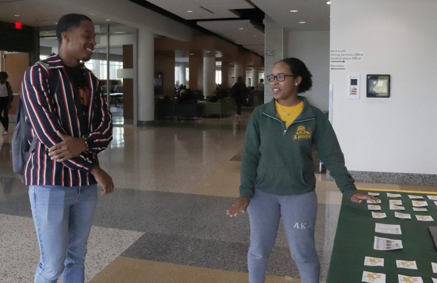 The Student Government Association put together a tabling event to help quiz students on the university history and what SGA offers. By participating, students could win a coupon for an on-campus dining facility.