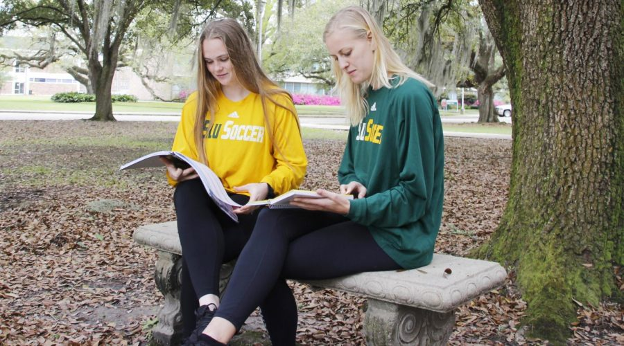Nadine Maher, a junior kinesiology major, left, and Sofia Olsson, a senior business administration major, right, earned the President's List distinction despite their busy schedules as student-athletes on the Lady Lions soccer team.