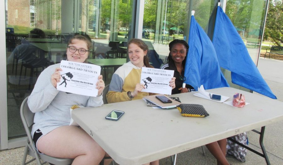 The Spirit of the Southland Colorguard set up a table to recruit interested students.
