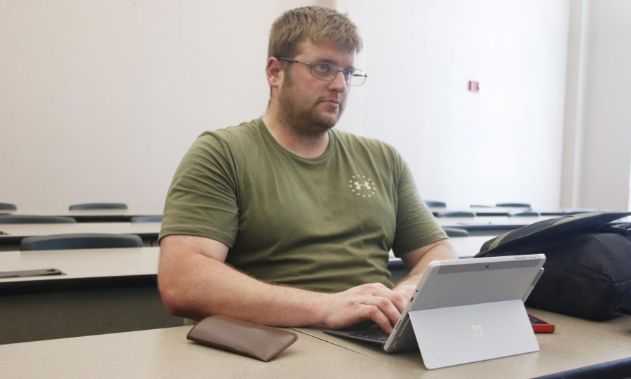 Quinn Boudreaux, a sophomore social studies education major, uses a laptop to take notes in his political science 201 class. Students who use laptops have shared that it helps to keep up with fast-pace lectures.