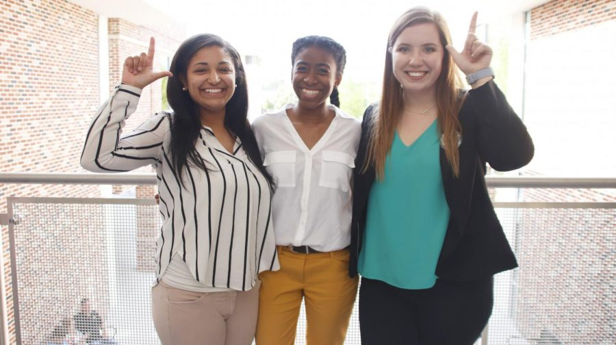 Leah Cross, 2019-20 chief justice of the Student Government Association, L'Oreal Williams, 2019-20 vice president of SGA, and Karley Bordelon, 2019-20 president of SGA, pose after the election results. Over 1,000 votes were cast in this election cycle.