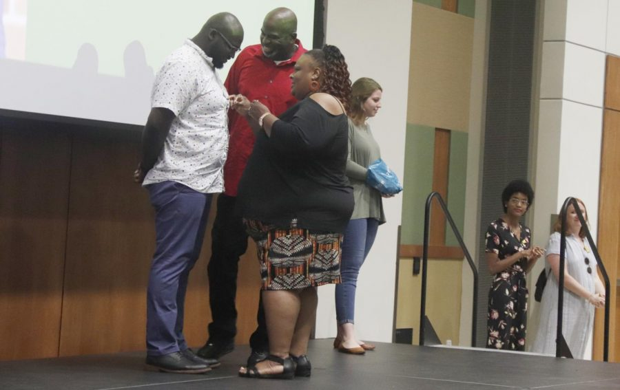 Students were pinned by their parents at the
