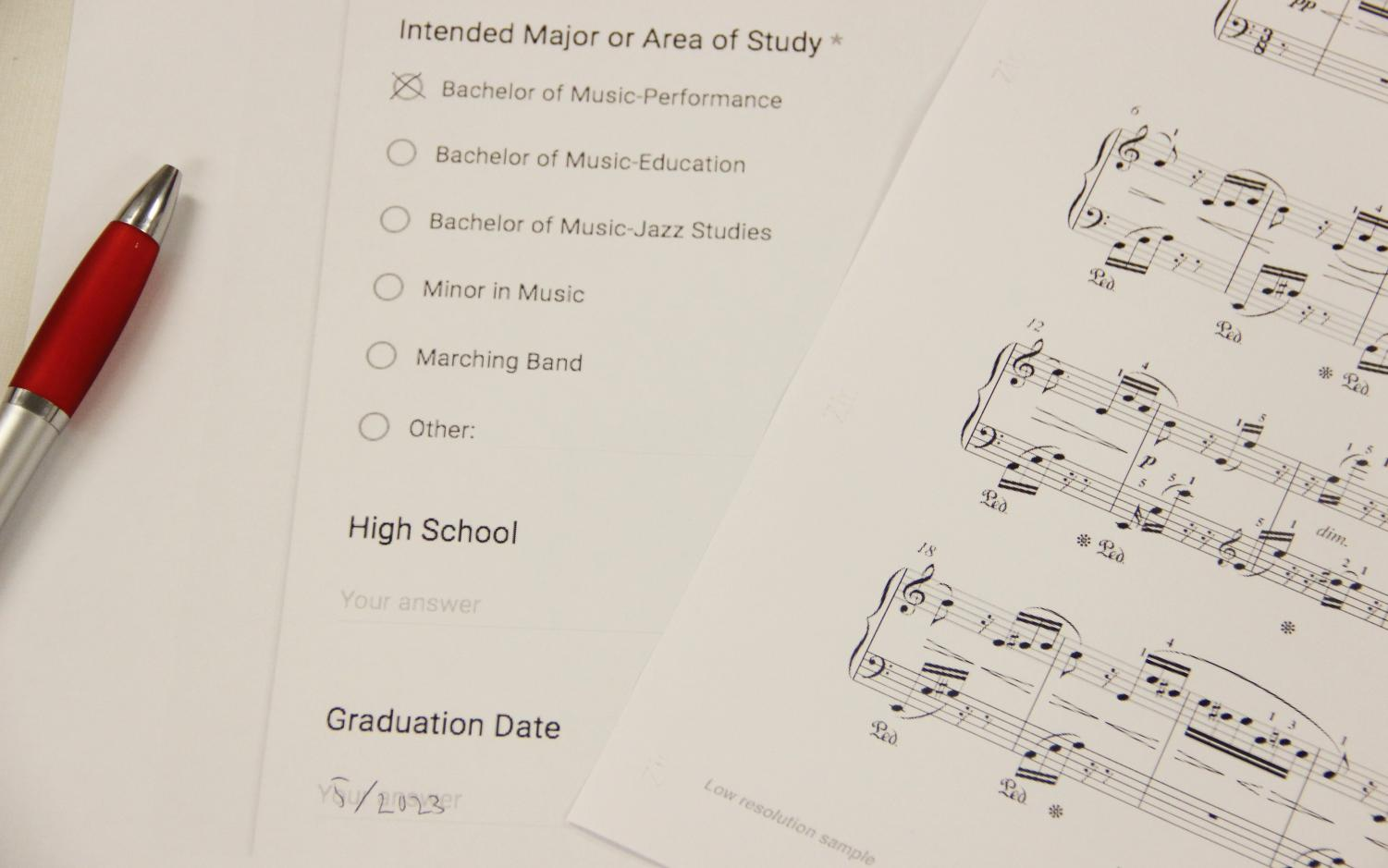 In music, students must audition to enter the department. This audition also counts as the students' scholarship application.