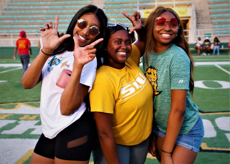 Destiny Harris, a freshman marketing major, Deja Feast, a sophomore nursing major, and Carlie Love, a sophomore kinesiology major, participated at