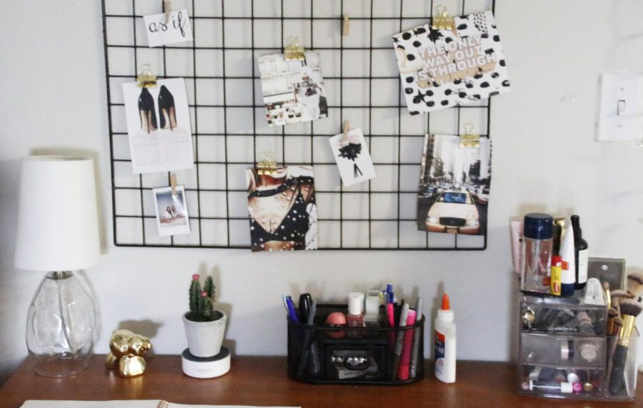 A vision board is displayed in a student's dorm room. Students can create a vision board to help them achieve their goals and dreams.