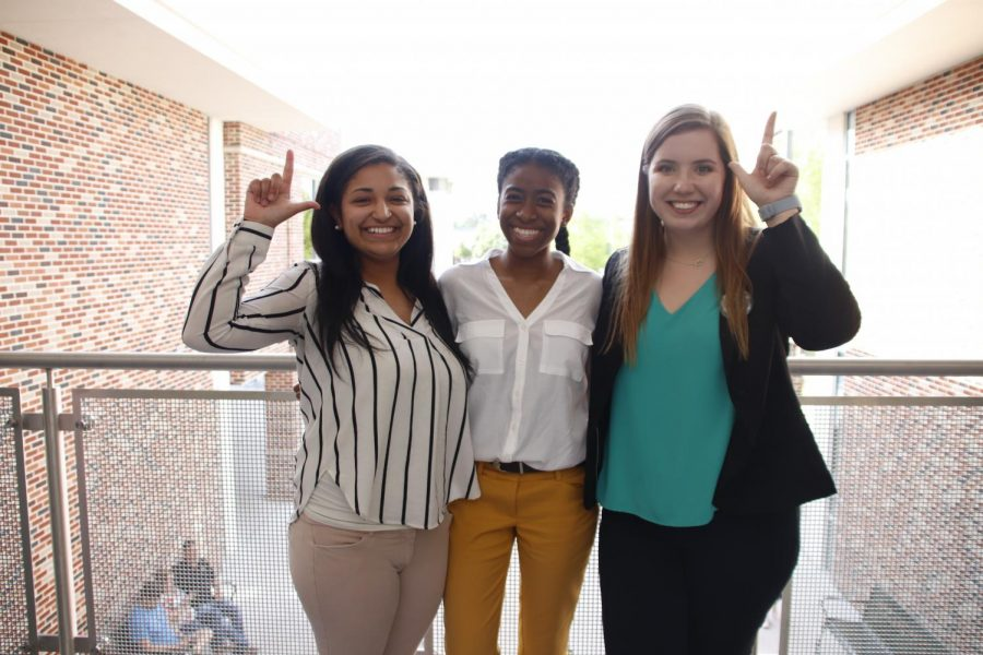 Leah Cross, chief justice of the Student Government Association, L'Oreal Williams, vice president of SGA, and Karley Bordelon, 2019-20 president of SGA.