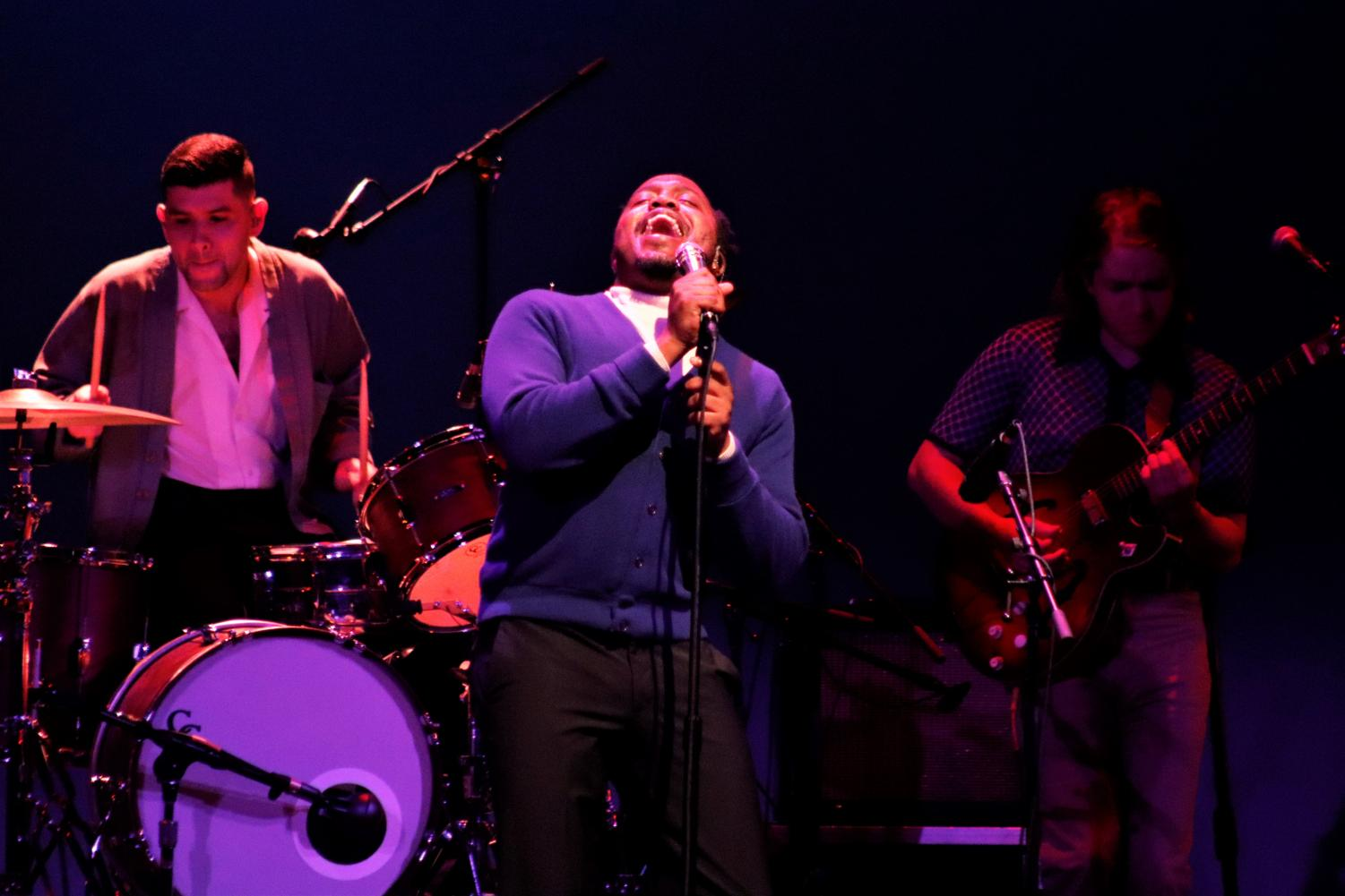 Durand Jones performed at the Columbia Theatre with his band, Durand Jones and the Indications, shortly after returning from an international tour.