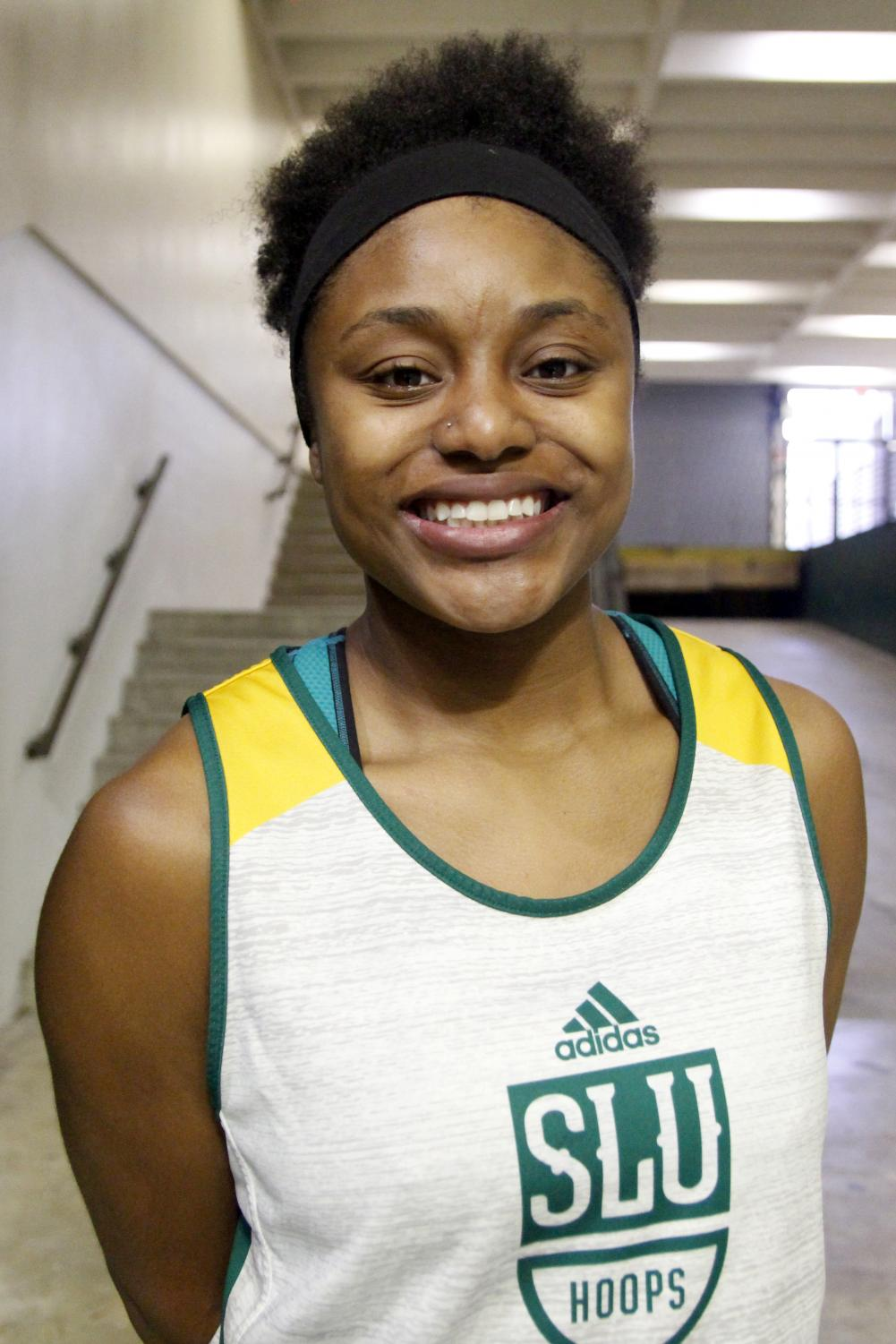Charliee Dugas, a guard for the university basketball team, enters her fourth season with the team. Dugas anticipates playing professionally after she graduates. Elana Guillory/The Lion's Roar