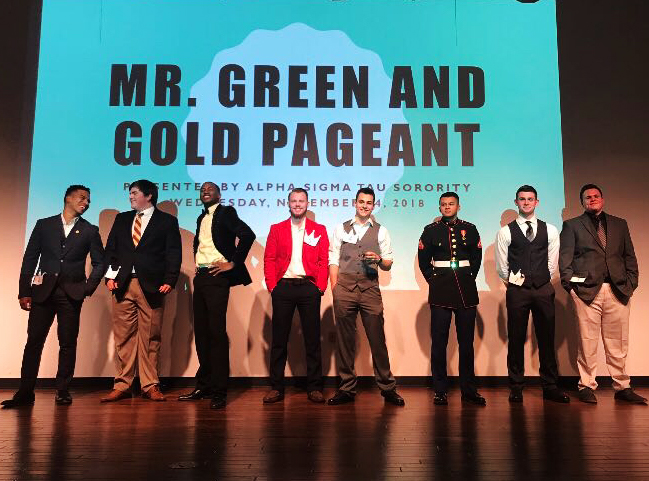 Pictured+above+are+the+contestants+of+Mr.+Green+and+Gold+2018.+This+year%2C+the+pageant+will+be++organized+on+Nov.+6+at+7+p.m.