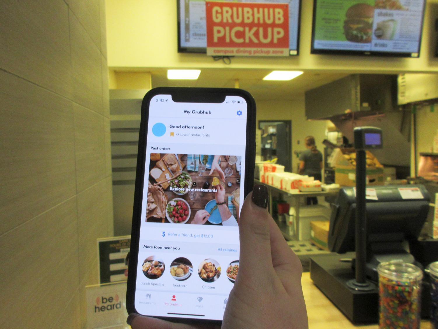 Tapingo was replaced by Grubhub as the two companies merged together, and students had to download the new app on their phones. Gerard Borne/The Lion's Roar