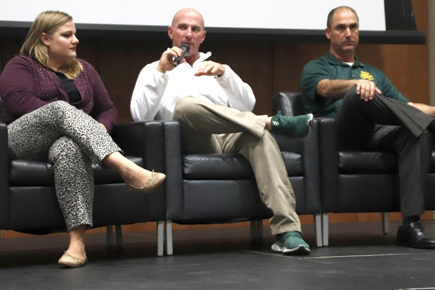 Matt Riser, head coach of baseball, shares his personal experience with substance addiction in college and discusses the importance of getting help. In the first half of the Mocktails event, the guest panel had an interaction with students to raise awareness for substance abuse.