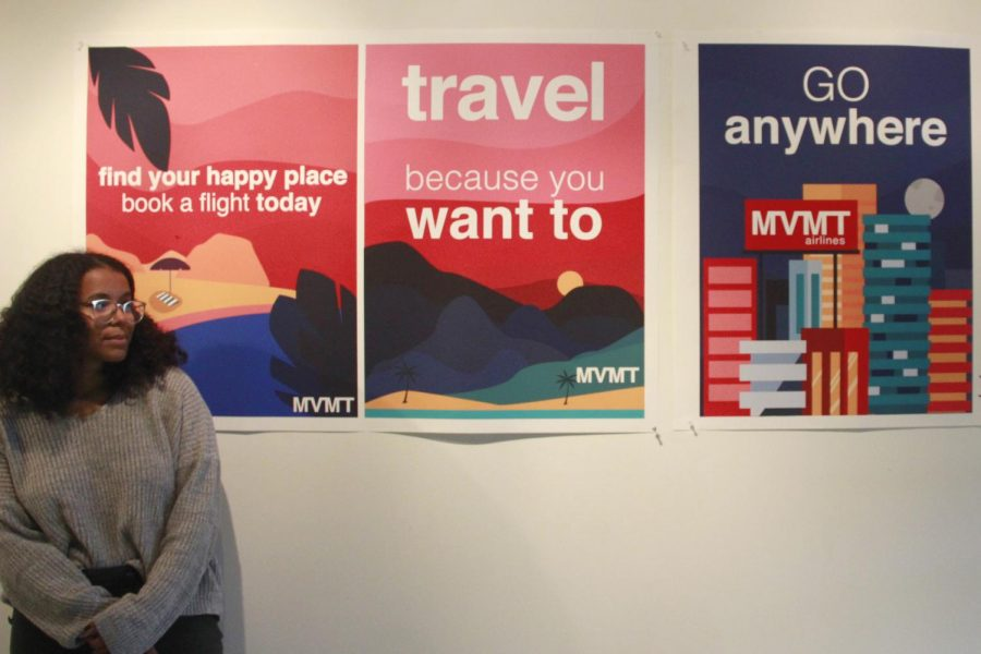 Senior art major Ariana Ford displays a preview of her graphic design artwork that will be shown in the Senior Art Exhibition. The piece is titled 'MVMT Airlines,' in which Ford envisions an airline for students like herself that cannot afford to travel often. Brynn Lundy/The Lion's Roar
