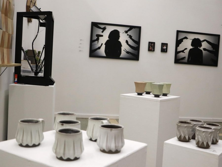 Art work by senior art majors is displayed in the Contemporary Art Gallery. The Senior Art Exhibition started on Nov. 21 and will be displayed until Dec. 12.