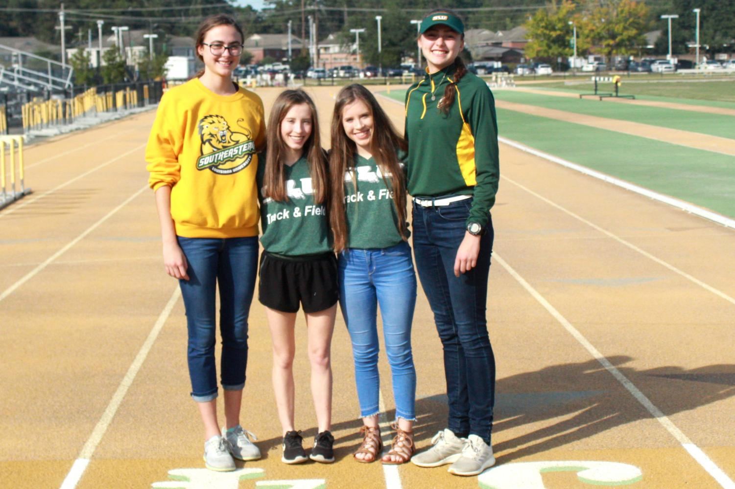 The university women's cross country team now has two sets of twins. Berni Tournoux, Belle Vignes, Blair Vignes and Brigid Tournoux are all freshman distance runners. The team finished their 2019 season with the Southland Conference Championships on Nov. 1 in Conway, Ark.