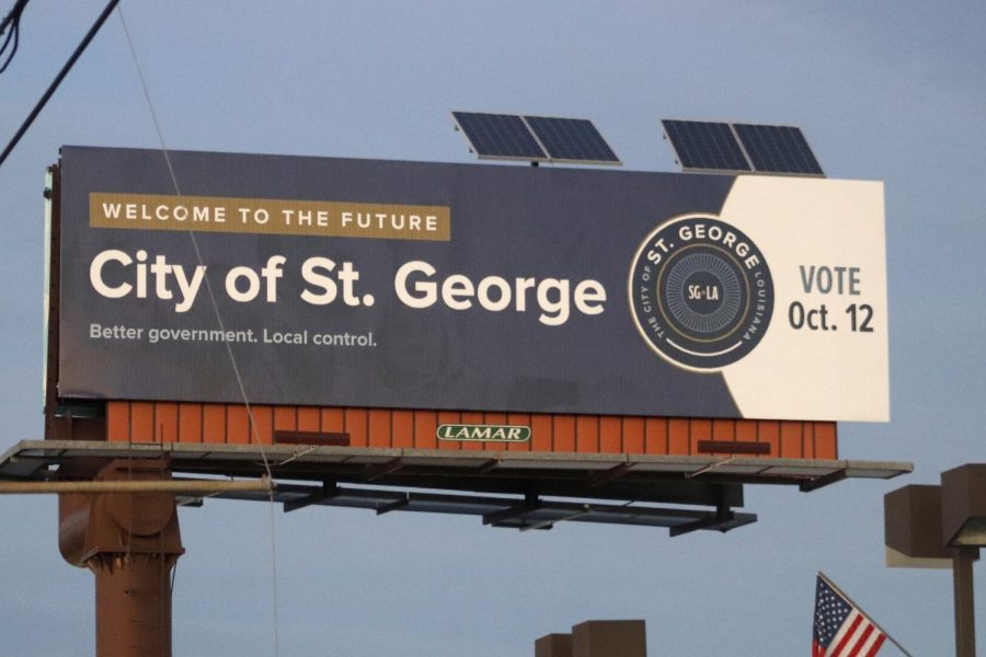 A+sign+on+Siegan+Lane+near+I-10+in+Baton+Rouge+encouraged+voters+to+pass+the+proposal+for+the+City+of+St.+George+on+Oct.+12.+The+proposal+passed+with+54%25+of+voters+supporting+the+new+city.++