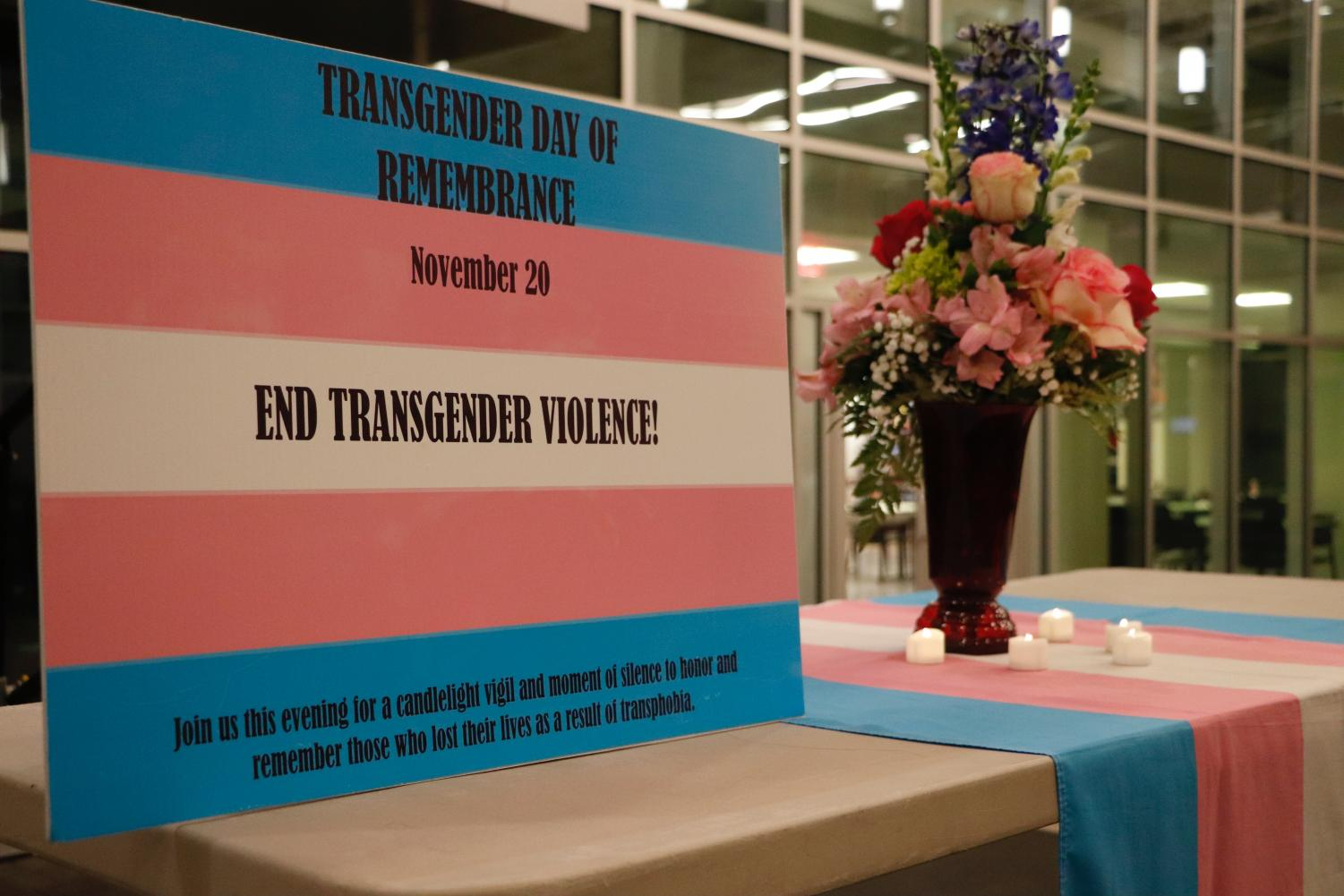 Members and allies of the LGBTQ+ community gathered as StandOUT hosted an event in honor of Transgender Day of Remembrance on Nov. 20 in the Student Union Breezeway.
