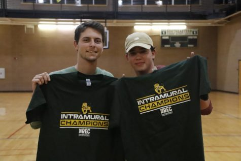 Preston Gautreau and Gavin Crain paired up to compete in the university's intramural cornhole tournament. They made it to the final round and won the intramural champion t-shirts.